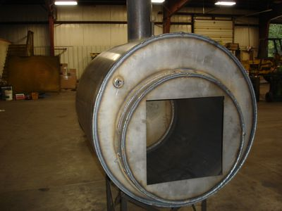 Wood Furnace - Front View of Firebox & Waterjacket